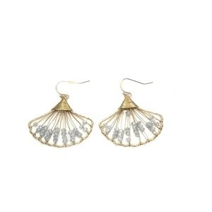 New metal shell earrings grey